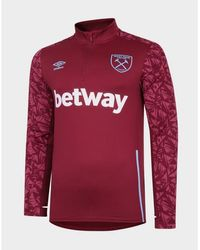 Umbro West Ham United Fc 1/4 Zip Top - Red
