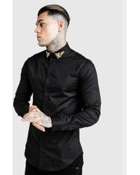 168ef8642942 Lyst - Siksilk Jersey Short Sleeve Shirt With Contrast Sleeves in ...