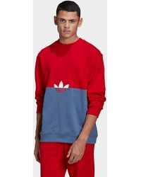 adidas Originals Adicolor Sliced Trefoil Crew Sweatshirt - Red