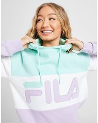 Fila Colour Block Boyfriend Overhead Hoodie - Blue