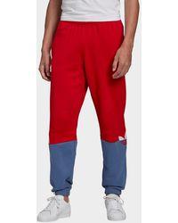 adidas Originals Adicolor Sliced Trefoil Sweatpants - Red