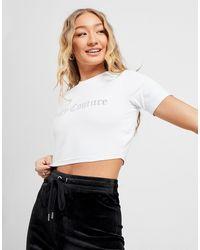 Juicy Couture Diamante Logo Crop T-shirt - White