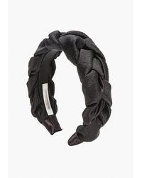 Jennifer Behr Lorelei Braided Silk-faille Headband - Black