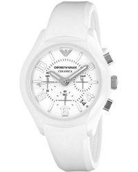 530f350ec Emporio Armani Meccanico Ar4664 Black Leather Automatic Watch in Black for  Men - Lyst