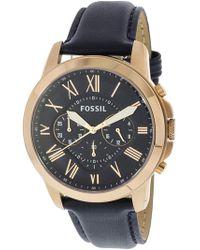 Fossil - Grant Fs4835 Leather Analog Quartz Dress Watch - Lyst