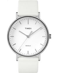 Timex - Fairfield 41mm Leather Strap |white| Casual Watch Tw2r26100 - Lyst
