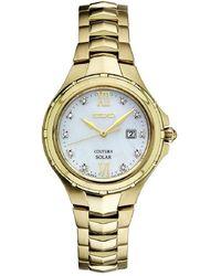 Seiko - Women's Solar Coutura Diamond Accent Gold-tone Stainless Steel Bracelet Watch 29mm Sut310 - Lyst