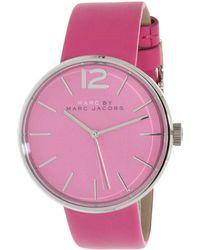 Marc By Marc Jacobs - Peggy Mbm1363 Pink Leather Quartz Fashion Watch - Lyst