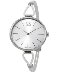 d51cab82 Calvin Klein - Selection Dial White Leather Ladies Watch K3v231l6 - Lyst