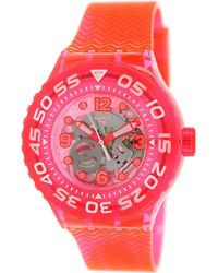 Swatch - Deep Berry See-through Dial Red Plastic Strap Watch Suup100 - Lyst