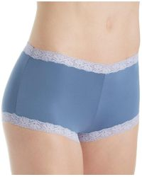 4ed741501b9e Lyst - Maidenform 40760 Microfiber And Lace Boyshort Panty in White