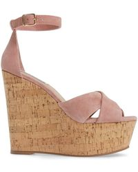 e85634102c84 Steve Madden - Striking Leather Open Toe Special Occasion Platform Sandals  - Lyst