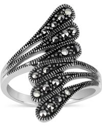 Swarovski - Marcasite Sterling Silver Oxidized Bypass Ring - Lyst