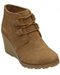 974a51a7d69 Lyst - Toms Black Suede With Faux Crepe Women s Desert Wedge Booties ...