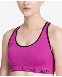 36af654767a Calvin Klein - Performance Basketweave Strappy-back Low-support Sports Bra  Bright Purple Xs