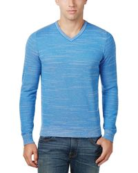 4f749a07d741 Tommy Hilfiger - Textured Streaked V-neck Sweater Resort Blue Large L - Lyst