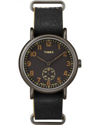 Timex - Weekender Oversized | Black Multi-dial & Leather Strap | Casual Watch - Lyst