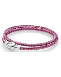 PANDORA - Mixed Pink Woven Double-leather Charm Bracelet - Lyst