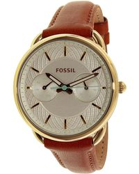 Fossil | Tailor Es4006 Brown Leather Quartz Fashion Watch | Lyst