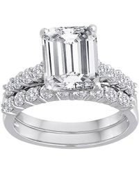 Swarovski - Pure Perfection Certified Bridal Ring With Emerald-cut Center Stone Made With Zirconia - Lyst