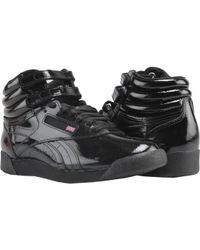f49626e06eac Lyst - Reebok Freestyle Hi Velvet Grade-school in Black