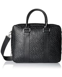 CALVIN KLEIN 205W39NYC - Saffiano Leather Embossed Laptop Bag - Lyst