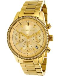 Michael Kors - Ritz Gold Tone Dial Ladies Chronograph Watch Mk6356 - Lyst