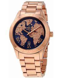 22ce56375a36 Michael Kors - Layton Blue Globe Dial Ladies Watch Mk6395 - Lyst