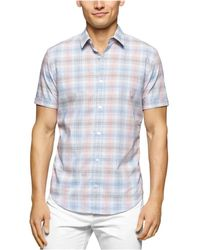 Calvin Klein - Checked Ss Button Up Shirt Placidblue Xlt - Lyst