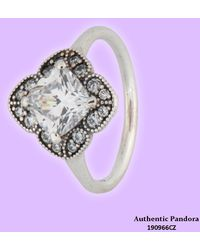 PANDORA - Crystallized Floral Fancy Ring 190966cz - Lyst