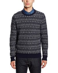 Tommy Hilfiger - Lambswool Blend Fair Isle Crewneck Sweater Navy Blue Medium M - Lyst