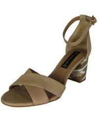 2990130e91d4f Lyst - Brooks Brothers Color-block Ankle-strap Stacked-heel Sandals ...