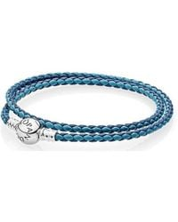 Pandora | Moments Double Woven Leather Bracelet | Lyst