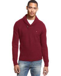 Tommy Hilfiger - Portland Sweater Xxl 2xl Bright Red Shawl Collar Pullover $99 - Lyst