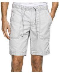 Calvin Klein - Mens Faded Poplin Casual Walking Shorts Greyviolet 40 - Lyst