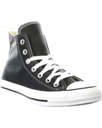 e5f880f7d6f1 Lyst - Converse Chuck Taylor All Star Leather High Top Shoe in Black ...
