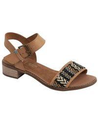 a9eddbf27bc TOMS - Camilia Leather Geo Woven Block Heel Sandals - Lyst