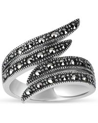 Swarovski - Marcasite Sterling Silver Oxidized Double Bypass Ring - Lyst