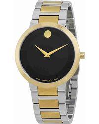 Movado - Modern Classic Black Dial Two-tone Watch 0607120 - Lyst