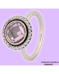 PANDORA - Brilliant Legacy Ring With Pink & Clear Cubic Zirconia - Lyst