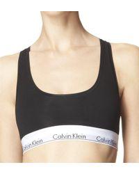 1d19151987036 Lyst - Calvin Klein Modern Cotton Censored Logo Bralette in Black