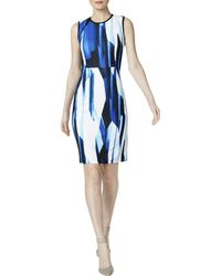 Calvin Klein - Printed Sleeveless Scuba Dress - Lyst