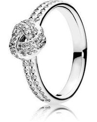 PANDORA - Sparkling Love Knot Clear Cz Ring Size 6 - Lyst