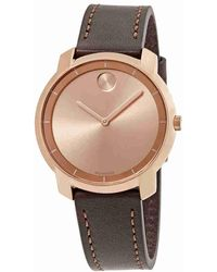 Movado - Bold Rose Gold Sunray Dial Ladies Leather Watch 3600475 - Lyst