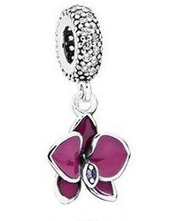 PANDORA - 791554en69 Dangle Orchid Charm - Lyst