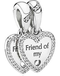 PANDORA - Hearts Of Friendship Pendant Charm - Lyst
