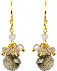 Mishanto London - Cari Pearl And Labradorite Drop Earrings - Gold Plated - Lyst