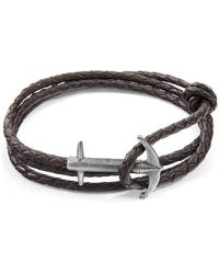 Anchor & Crew - Dark Brown Admiral Anchor Silver And Braided Leather Bracelet - Lyst