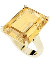 StyleRocks Citrine Emerald Cut 9kt Yellow Gold Cocktail Ring - UK U - US 10 1/4 - EU 62 3/4 UgHaC