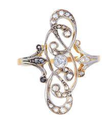 Alexis Danielle Jewelry - Art Nouveau Filigree Platinum 18kt Yellow Gold Diamond Ring - Lyst